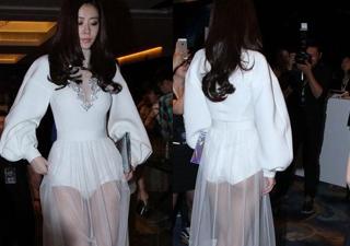 熊黛林身穿一袭白色透视长裙 性感十足