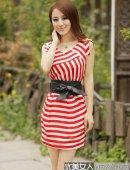 2012新款时尚修身雪纺短袖连衣裙