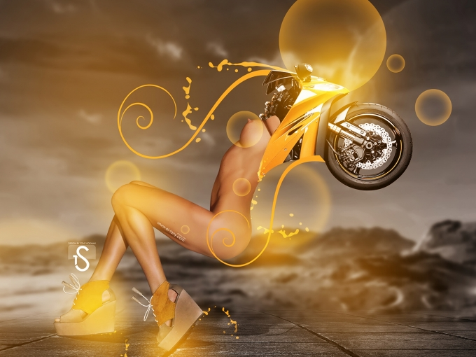 创意摄影美女与摩托车