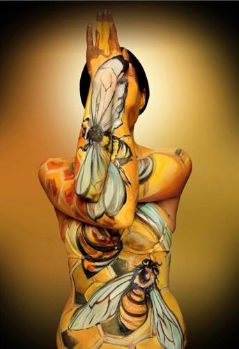 果果人体 美女艺术家创作人体彩绘