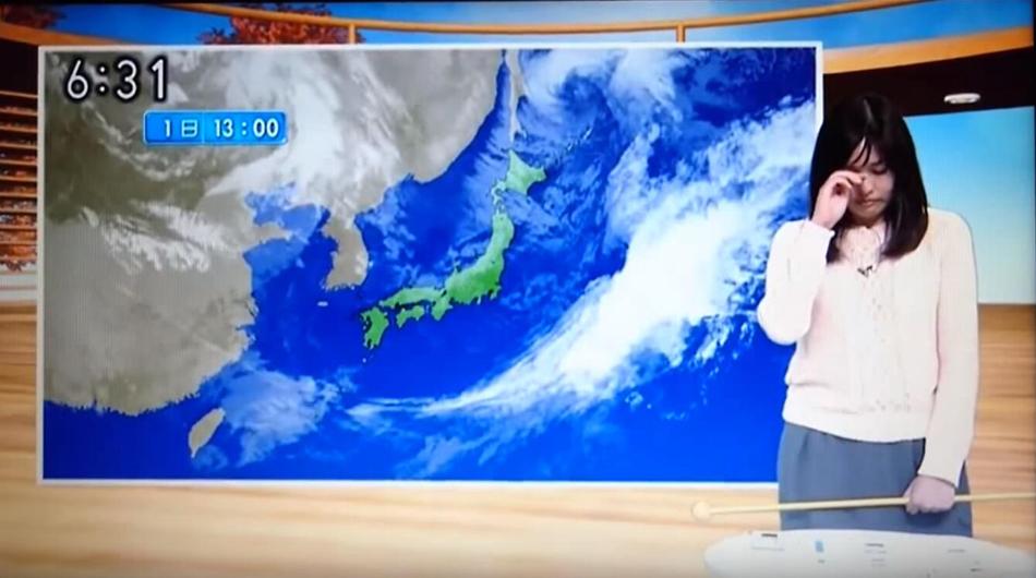 日本资深女主播边哭边播报天气