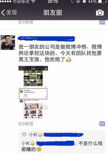 网友爆料称某团队花钱雇人要黑王宝强