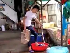 大排档店员用脚洗菜 连带拖鞋踩洗网友质问