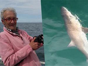 老汉钓到1.5米长鲨鱼 微微发亮甚是好看老汉