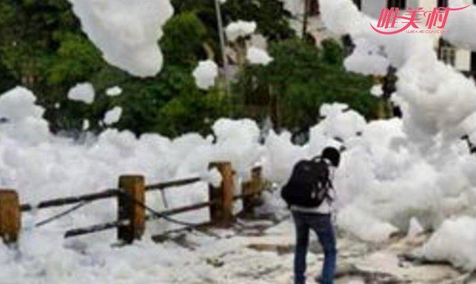 印度惊现有毒泡沫