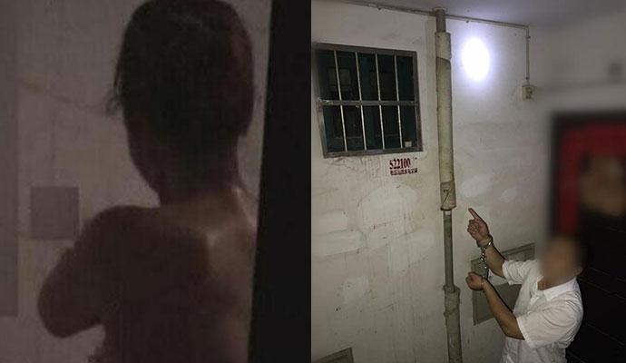 男子踩扶手偷窥洗澡