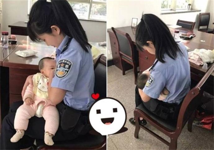 警花给受审被告孩子喂奶