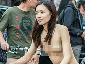 杭州妹子在美国裸骑 全裸行为大胆展现性感