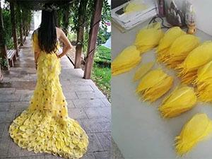 用6000片树叶制晚礼服 成品让人眼前一亮作品灵感及制作过程曝光