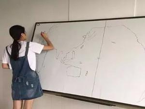 姑娘盲画世界地图 可惜以三分之差无缘奖牌