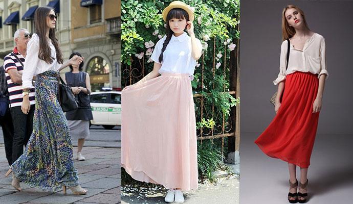 半身雪纺长裙怎么搭配