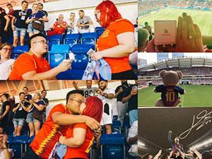 中国球迷世界杯求婚 两人相识过程被揭女子感动落泪