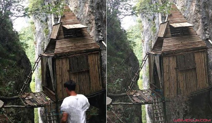 小伙悬崖徒手建竹屋