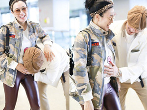 钟丽缇辟谣怀孕怎么回事 机场里夫妻俩上演