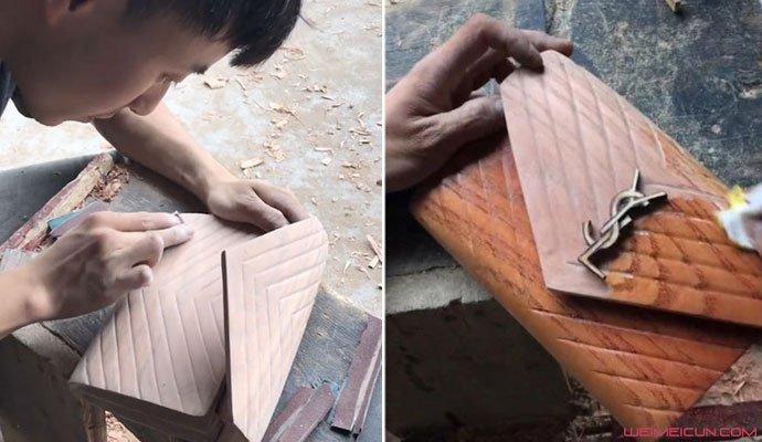 小伙用木头做奢侈女包