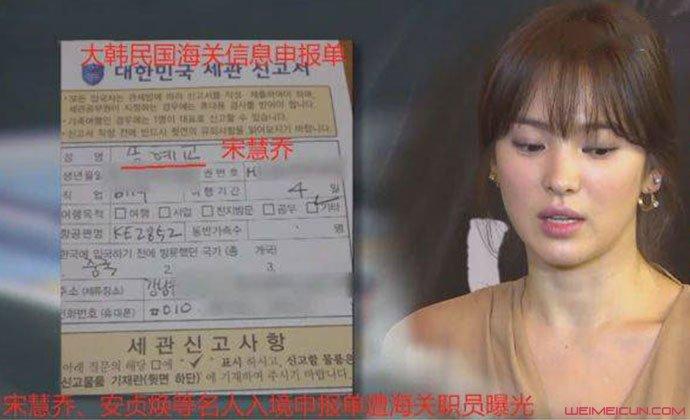 宋慧乔海关申请表信息