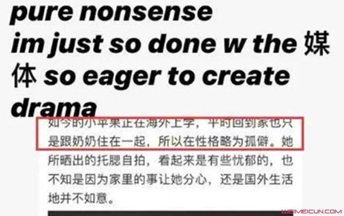 汪峰女儿怼自媒体