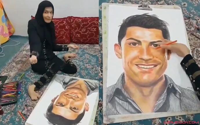 伊朗残疾女孩用脚画出C罗