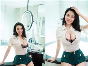 林萌萌无圣光套图曝光 上演制服的诱惑