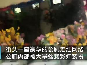 河南6旬大爷将街头公厕布置成KTV 盆栽彩灯