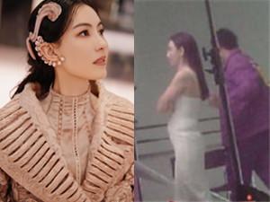 张柏芝再次被质疑怀孕 身穿白色紧身连衣裙