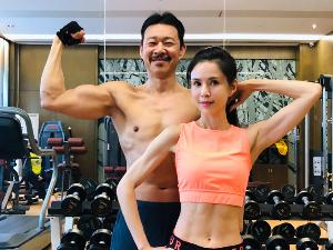 李若彤晒与张丰毅健身照 两个人年龄55+65但