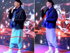 60岁欧阳震华现身商演 舞台简陋裤子抢镜